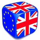 CT6KAP Dice with European Union Flag and UK flags on it's sides